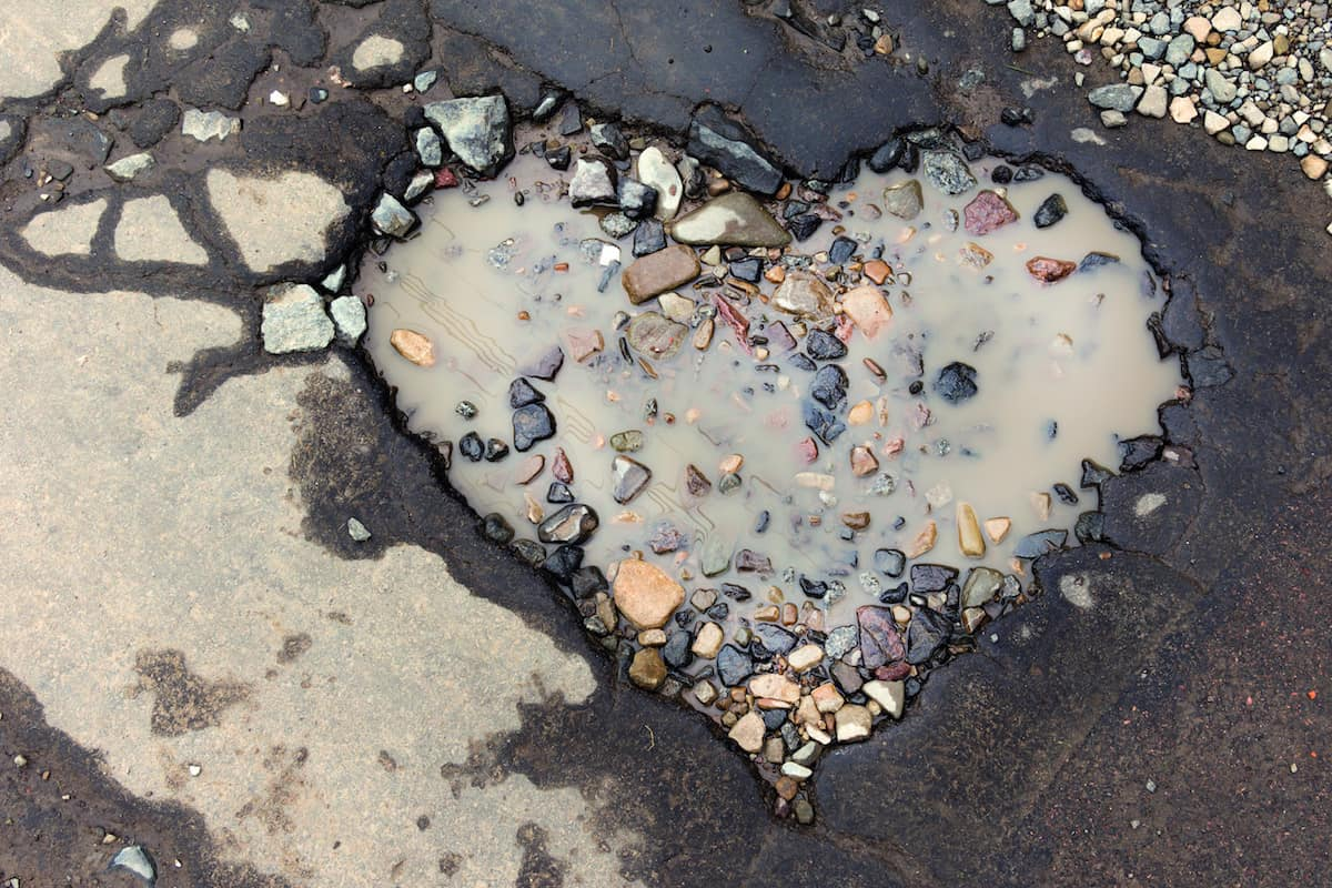 pothole shaped like a heart